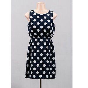 J Crew Navy w/ White Polka Dots Sleeveless Dress